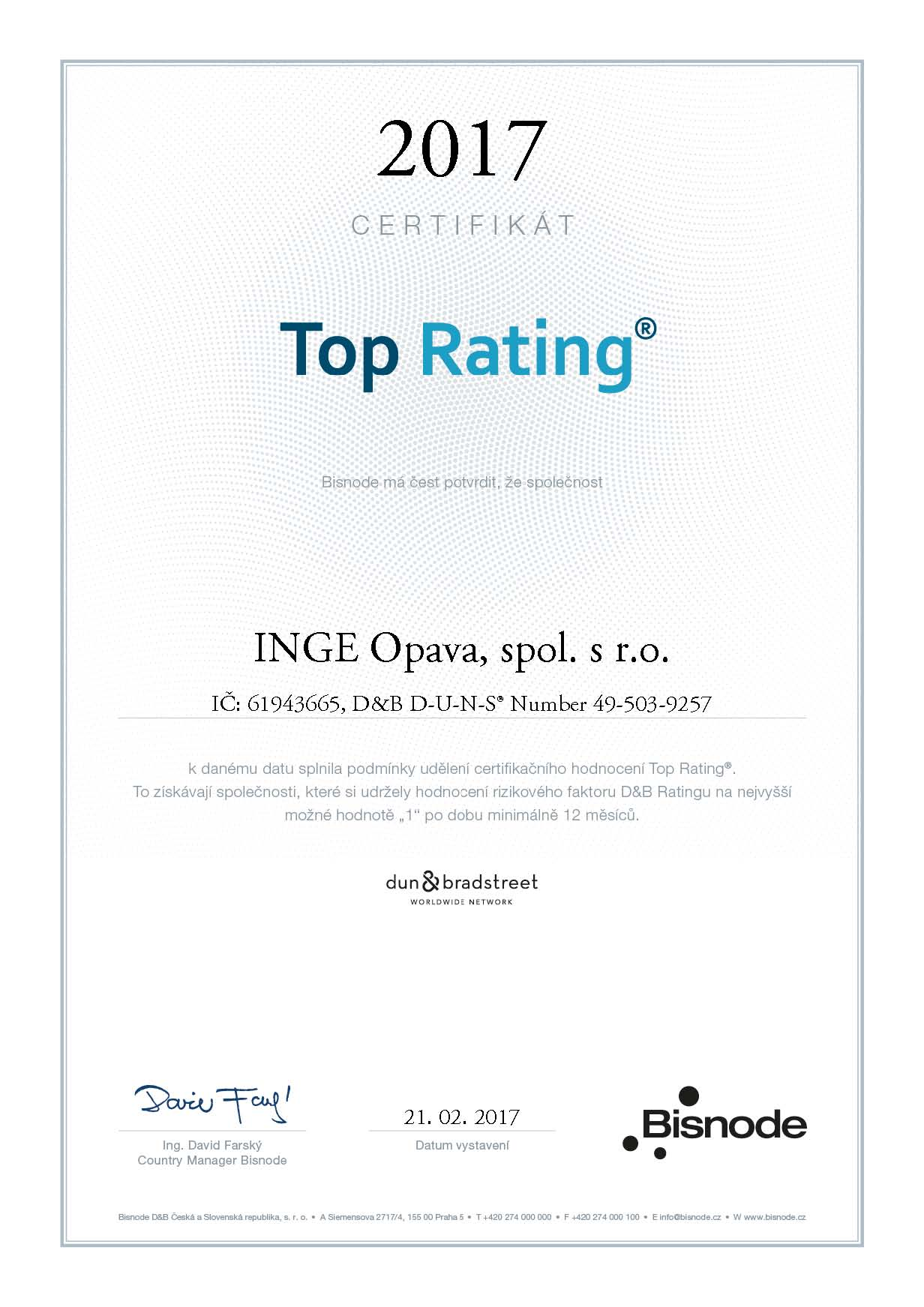TOP RATING 2017 cert
